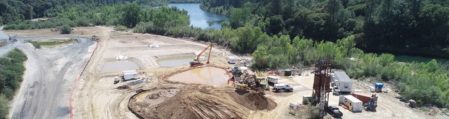 sediment removal operation and equipment at Combie Reservoir