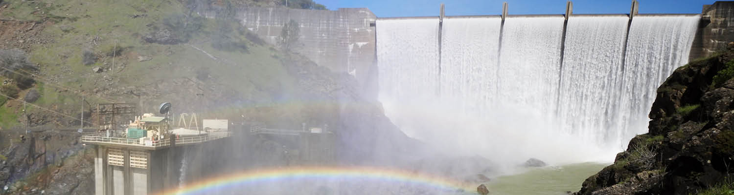 Englebright dam with water spilling over top