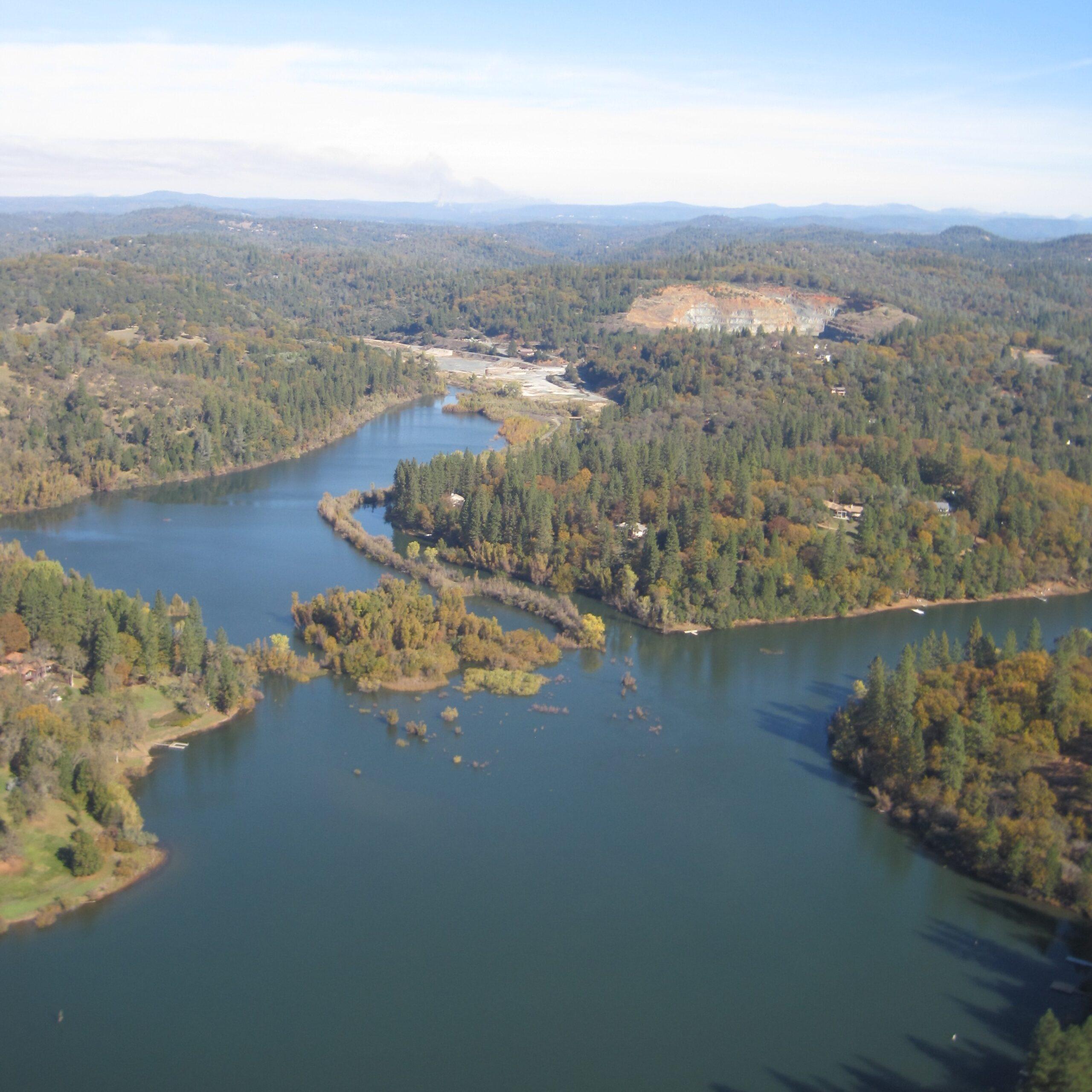 aerial view of Combie reservoir
