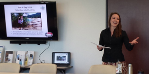 Outreach Coordinator Kelsey Westfall presenting to the Delta Mercury Exposure Reduction Program on April 13, 2016