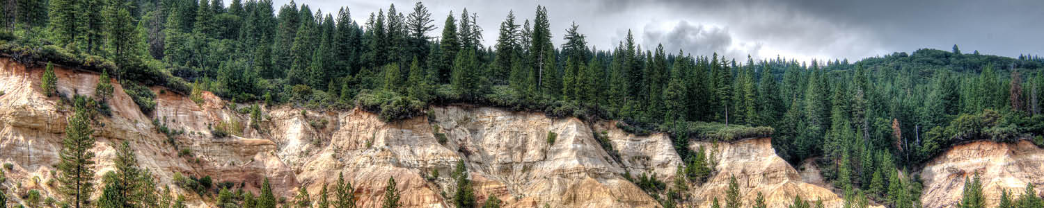 eroded bluffs created by hydraulic mining during the Gold Rush